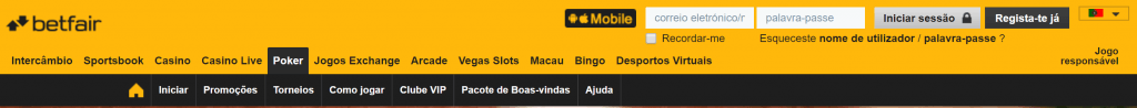 betfair opcoes menu