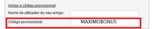 completar código promocional MAXIMOBONUS