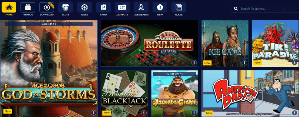 WIlliam Hill Casino jogos
