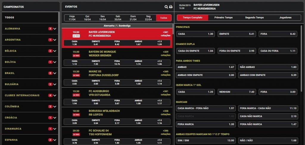 Mercados da Marjosports para aposta de futebol