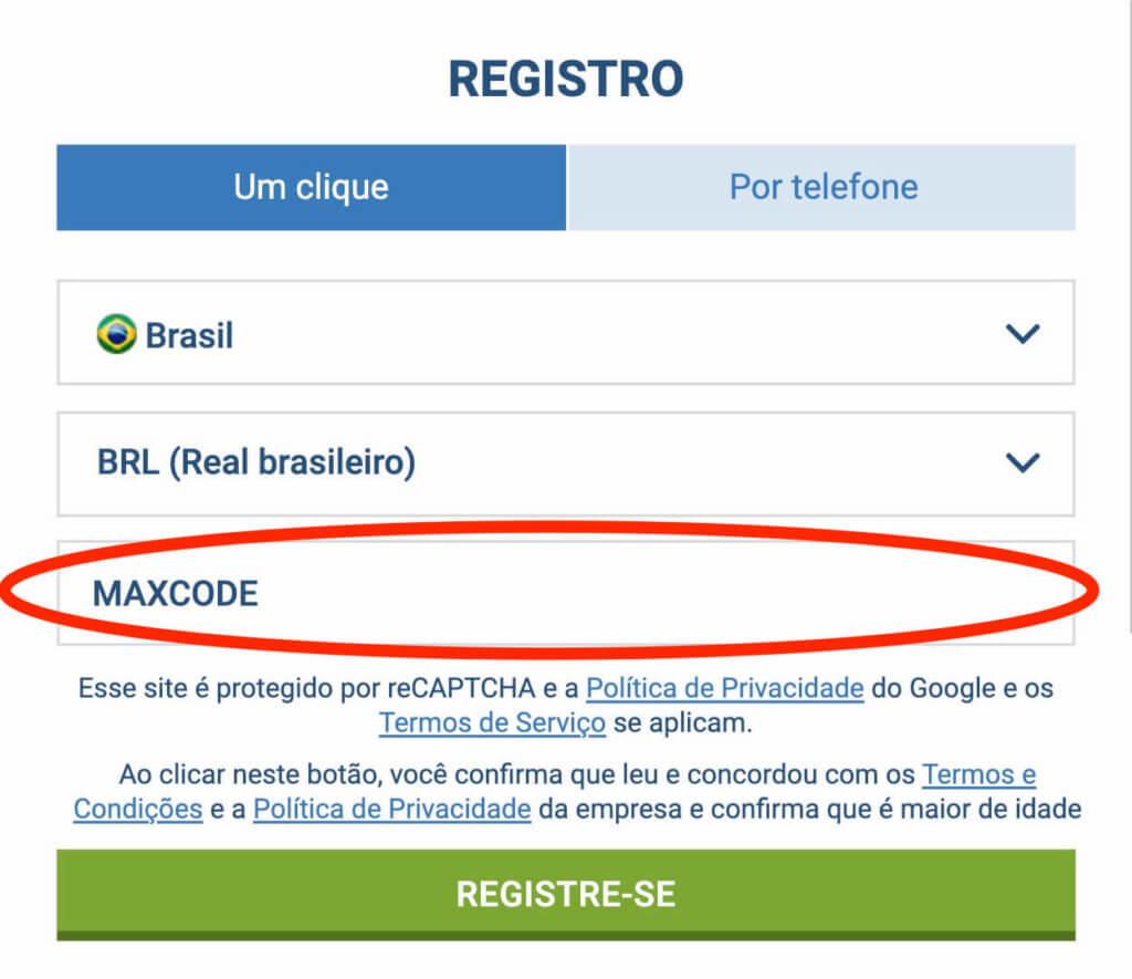 Codigo promocional 1xbet MAXCODE no registro